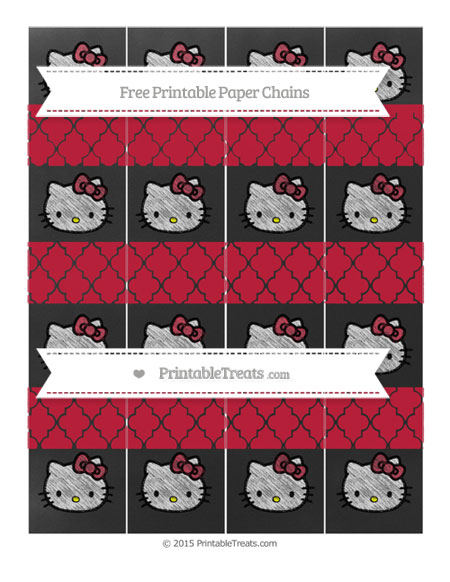 Free Cardinal Red Moroccan Tile Chalk Style Hello Kitty Paper Chains