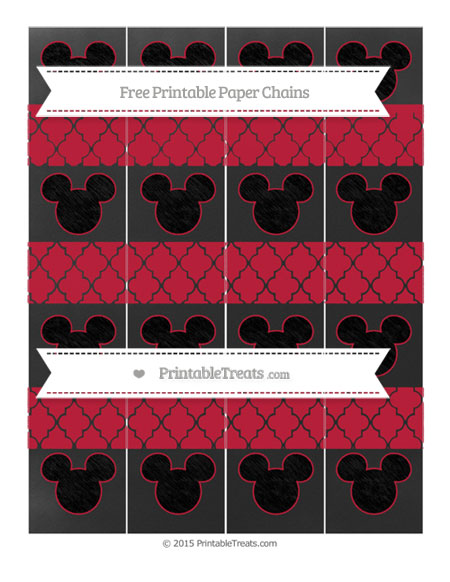 Free Cardinal Red Moroccan Tile Chalk Style Mickey Mouse Paper Chains