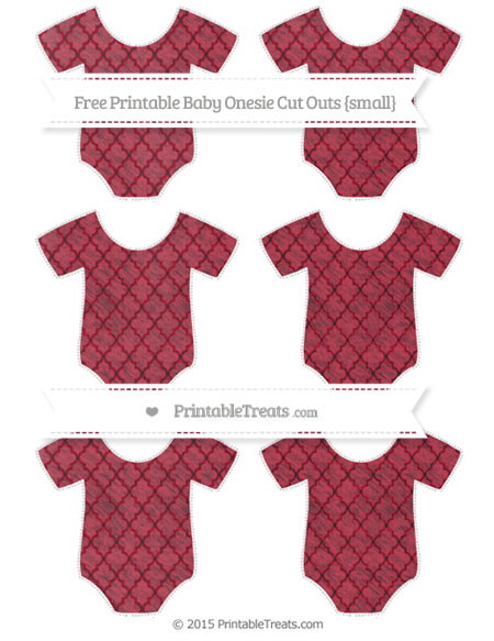 Free Cardinal Red Moroccan Tile Chalk Style Small Baby Onesie Cut Outs