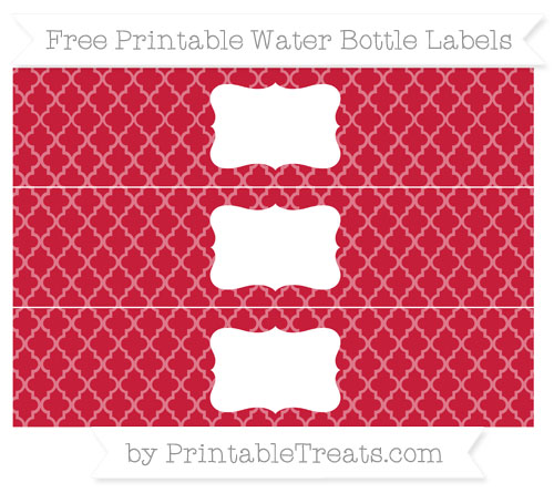 Free Cardinal Red Moroccan Tile Water Bottle Labels