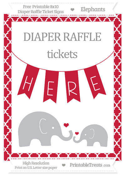 Free Cardinal Red Moroccan Tile Elephant 8x10 Diaper Raffle Ticket Sign
