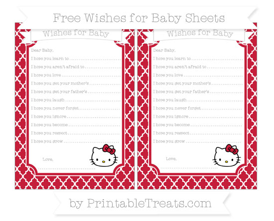 Free Cardinal Red Moroccan Tile Hello Kitty Wishes for Baby Sheets