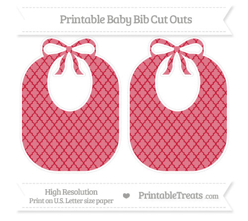 Free Cardinal Red Moroccan Tile Large Baby Bib Cut Outs