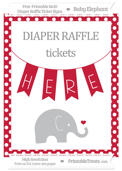 Free Cardinal Red Polka Dot Baby Elephant 8x10 Diaper Raffle Ticket Sign
