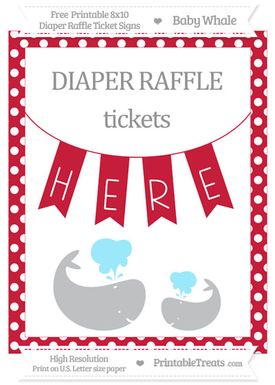 Free Cardinal Red Polka Dot Baby Whale 8x10 Diaper Raffle Ticket Sign