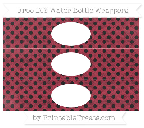 Free Cardinal Red Polka Dot Chalk Style DIY Water Bottle Wrappers