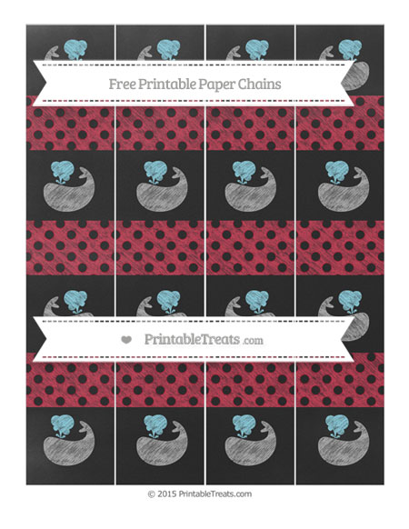 Free Cardinal Red Polka Dot Chalk Style Whale Paper Chains