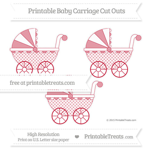 Free Cardinal Red Polka Dot Medium Baby Carriage Cut Outs