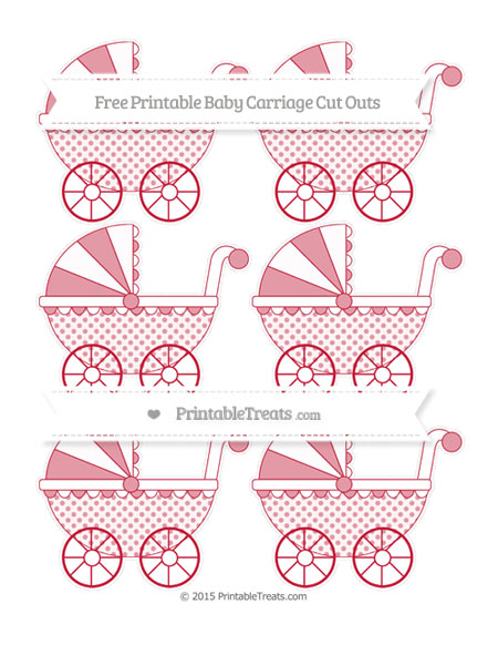 Free Cardinal Red Polka Dot Small Baby Carriage Cut Outs