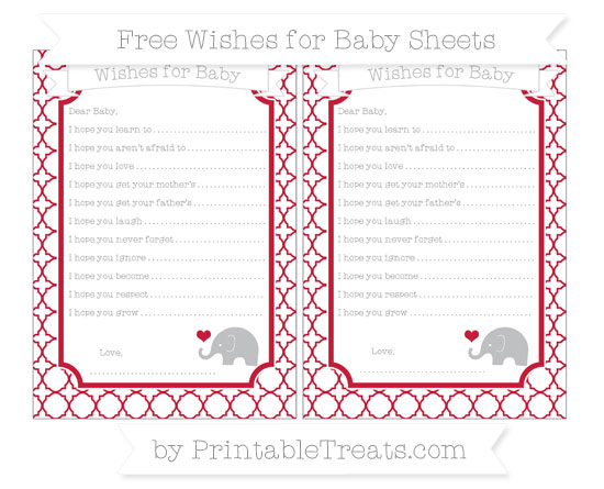 Free Cardinal Red Quatrefoil Pattern Baby Elephant Wishes for Baby Sheets
