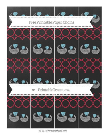 Free Cardinal Red Quatrefoil Pattern Chalk Style Baby Whale Paper Chains