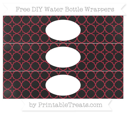 Free Cardinal Red Quatrefoil Pattern Chalk Style DIY Water Bottle Wrappers