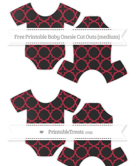 Free Cardinal Red Quatrefoil Pattern Chalk Style Medium Baby Onesie Cut Outs