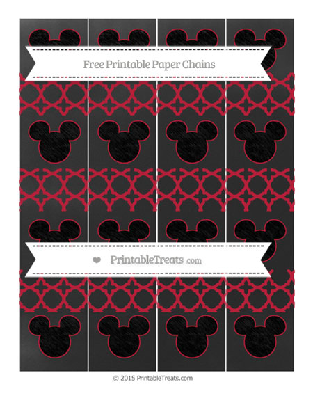 Free Cardinal Red Quatrefoil Pattern Chalk Style Mickey Mouse Paper Chains