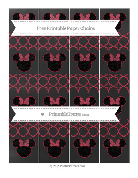 Free Cardinal Red Quatrefoil Pattern Chalk Style Minnie Mouse Paper Chains