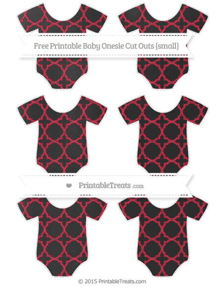 Free Cardinal Red Quatrefoil Pattern Chalk Style Small Baby Onesie Cut Outs