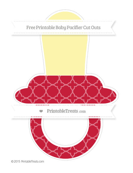 Free Cardinal Red Quatrefoil Pattern Extra Large Baby Pacifier Cut Outs