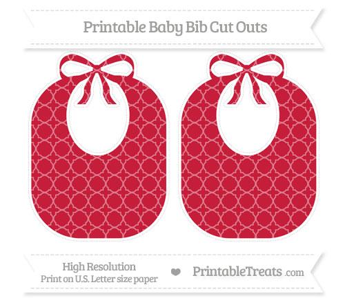 Free Cardinal Red Quatrefoil Pattern Large Baby Bib Cut Outs