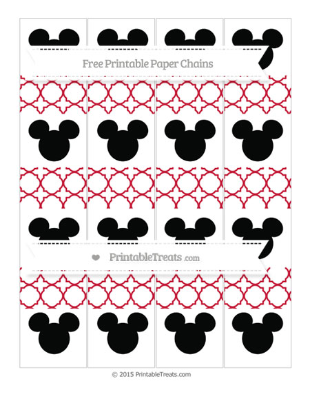 Free Cardinal Red Quatrefoil Pattern Mickey Mouse Paper Chains