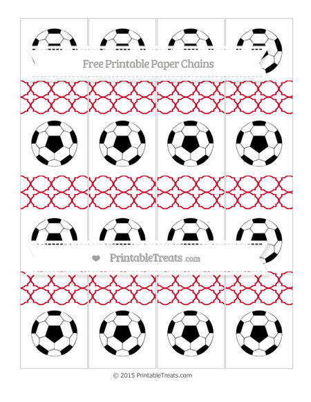 Free Cardinal Red Quatrefoil Pattern Soccer Paper Chains