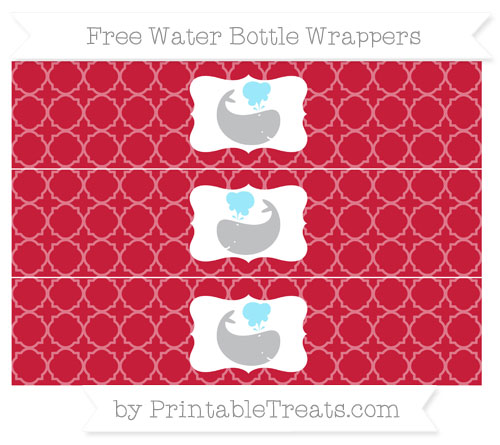 Free Cardinal Red Quatrefoil Pattern Whale Water Bottle Wrappers