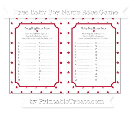 Free Cardinal Red Star Pattern Baby Boy Name Race Game
