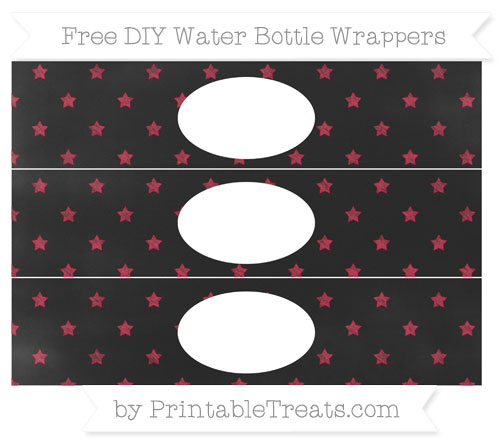 Free Cardinal Red Star Pattern Chalk Style DIY Water Bottle Wrappers