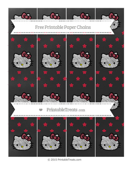 Free Cardinal Red Star Pattern Chalk Style Hello Kitty Paper Chains