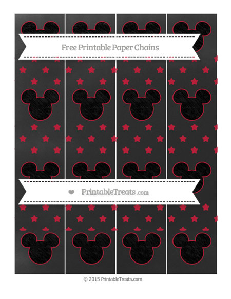 Free Cardinal Red Star Pattern Chalk Style Mickey Mouse Paper Chains