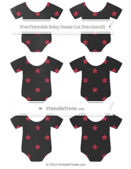 Free Cardinal Red Star Pattern Chalk Style Small Baby Onesie Cut Outs