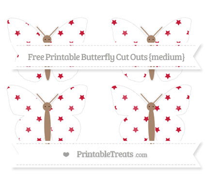 Free Cardinal Red Star Pattern Medium Butterfly Cut Outs