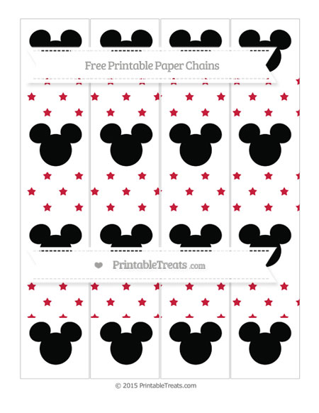 Free Cardinal Red Star Pattern Mickey Mouse Paper Chains