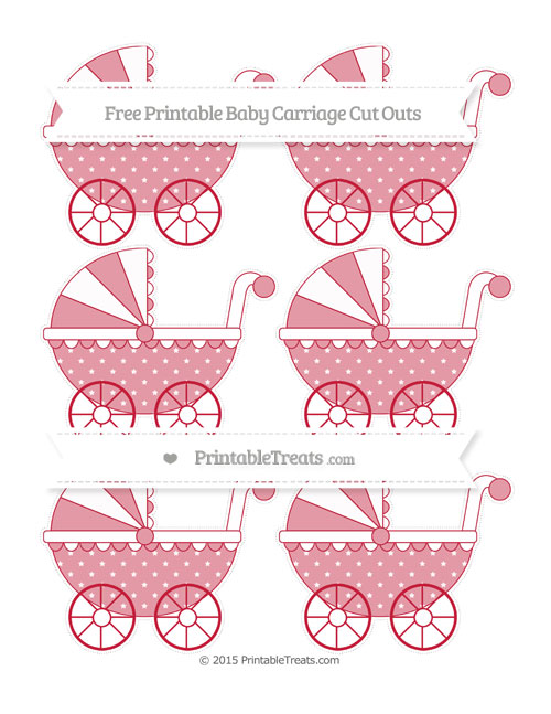 Free Cardinal Red Star Pattern Small Baby Carriage Cut Outs