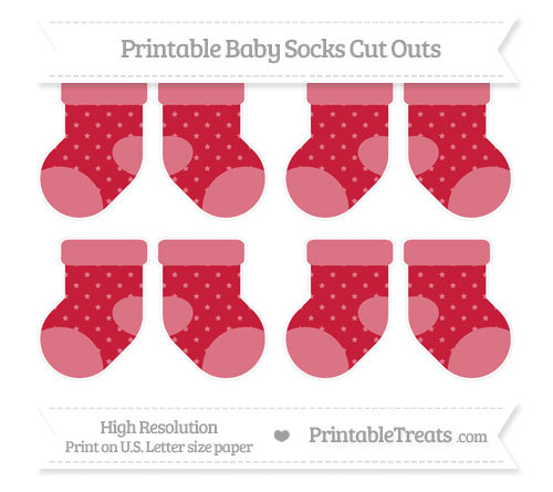 Free Cardinal Red Star Pattern Small Baby Socks Cut Outs