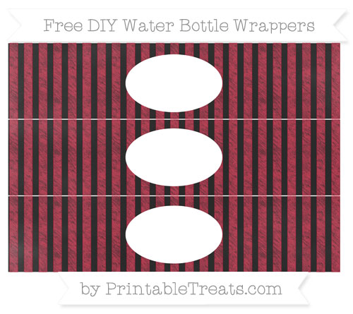 Free Cardinal Red Striped Chalk Style DIY Water Bottle Wrappers