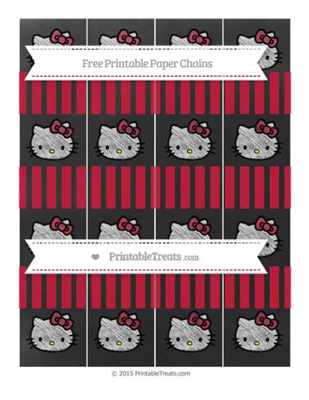 Free Cardinal Red Striped Chalk Style Hello Kitty Paper Chains