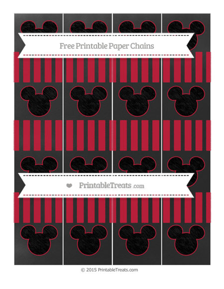 Free Cardinal Red Striped Chalk Style Mickey Mouse Paper Chains