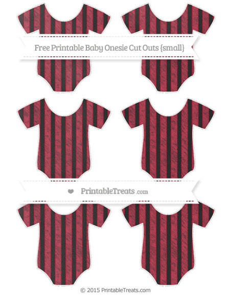 Free Cardinal Red Striped Chalk Style Small Baby Onesie Cut Outs