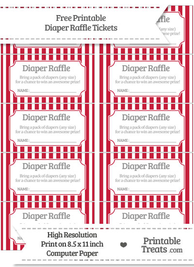 Free Cardinal Red Striped Diaper Raffle Tickets