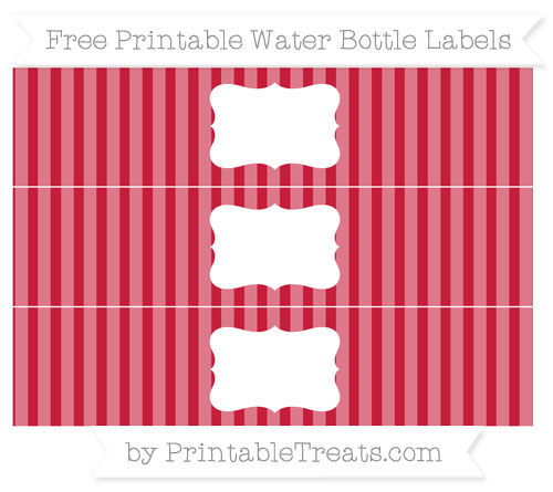 Free Cardinal Red Striped Water Bottle Labels