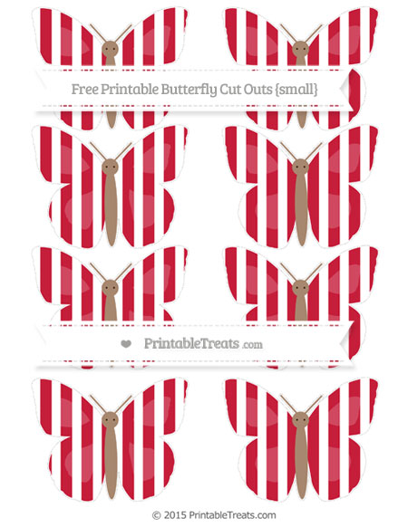 Free Cardinal Red Striped Small Butterfly Cut Outs