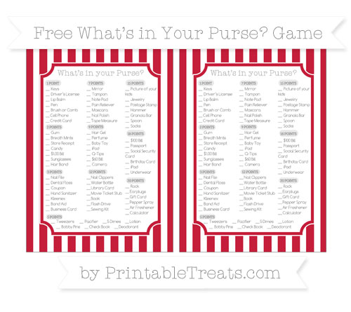 Free Cardinal Red Striped What's in Your Purse Baby Shower Game