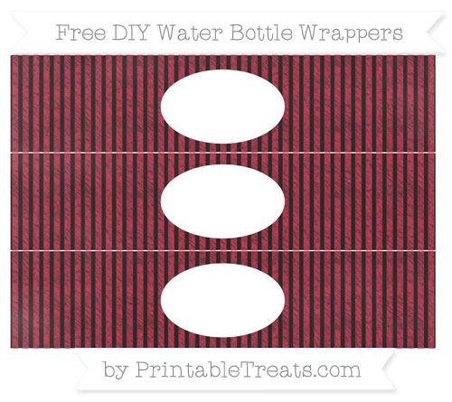 Free Cardinal Red Thin Striped Pattern Chalk Style DIY Water Bottle Wrappers