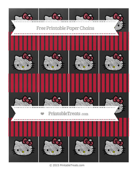 Free Cardinal Red Thin Striped Pattern Chalk Style Hello Kitty Paper Chains