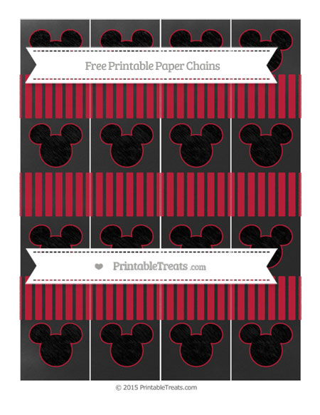 Free Cardinal Red Thin Striped Pattern Chalk Style Mickey Mouse Paper Chains