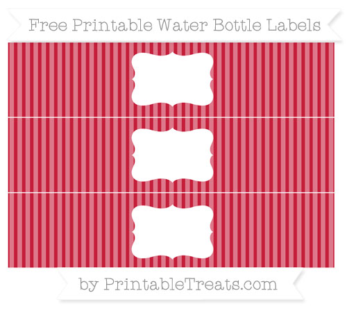 Free Cardinal Red Thin Striped Pattern Water Bottle Labels