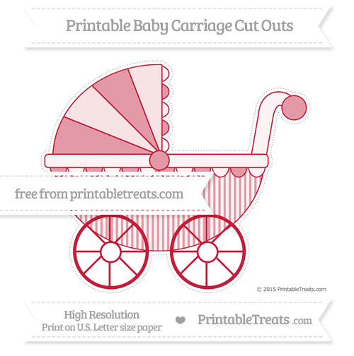 Free Cardinal Red Thin Striped Pattern Extra Large Baby Carriage Cut Outs