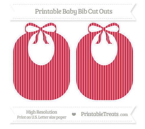 Free Cardinal Red Thin Striped Pattern Large Baby Bib Cut Outs