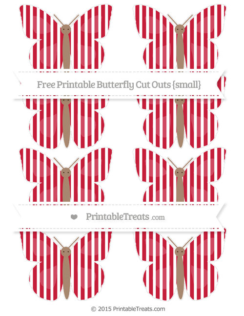 Free Cardinal Red Thin Striped Pattern Small Butterfly Cut Outs