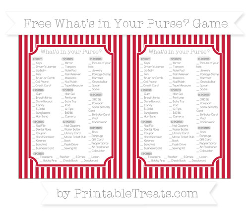 Free Cardinal Red Thin Striped Pattern What's in Your Purse Baby Shower Game